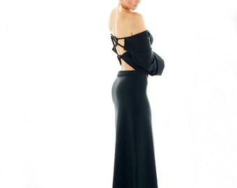 Long Black Open-back dress