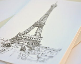 Eiffel Tower - blank greeting card Paris France original art drawing print illustration Bastille Day