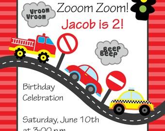 Printable Cars Birthday Invitation