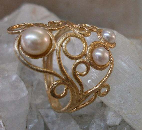 sterling silver plated with gold ornament pearl ring