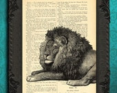 lion print | lion decor cat art print | upcycled lion illustration on dictionary page | lion wall art in black and white | wildlife art