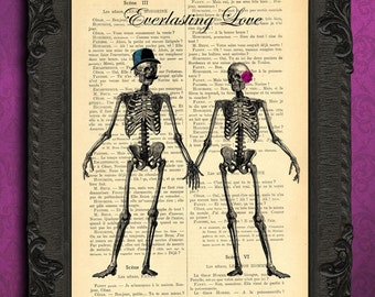 Everlasting love skeletons print husband and wife gift skeleton dictionary art print