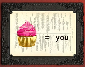 Cupcake print on vintage dictionary page, I love you wall art, cupcake artwork, pink cupcake poster, cupcake art