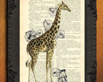 giraffe with bicycles art print giraffe illustration print on dictionary paper