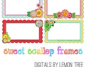 Digital Clip Art -- Sweet Scallop Frames (Instant Download)