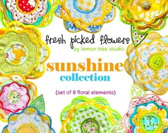 Digital Clip Art -- Fresh Picked Flowers -- Sunshine Collection (Instant Download)