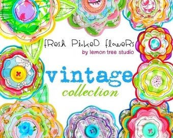 Digital Clip Art -- Fresh Picked Flowers -- Vintage Collection (Instant Download)