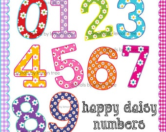 Digital Clip Art -- Happy Daisy Numbers (Instant Download)