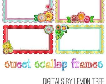 Digital Clip Art -- Sweet Scallop Frames (Instant Download)