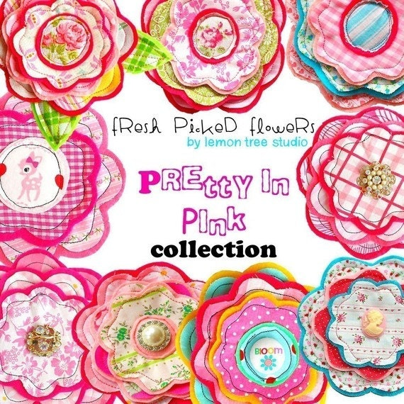 Digital Clip Art -- Fresh Picked Flowers -- Pretty in Pink Collection (Instant Download)