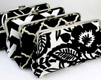 Bridesmaids Clutch in Black and White / Design Your Own in Various Fabrics for bridesmaids / Wedding Clutches - Set of 5
