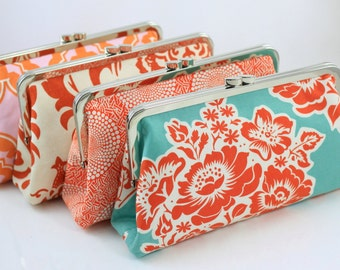 Orange Bridesmaid Gift for your Wedding party / Bridesmaid Clutches / Wedding Purse - Set of 5