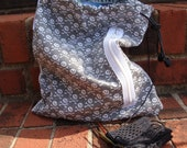 Gray Skull & Bones Drawstring Small Project Knitting Bag (fully lined with pockets)
