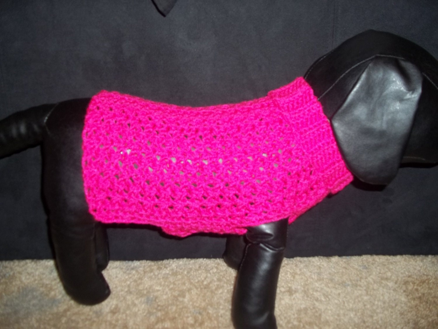 Fushia Crochet Dog Sweater/Clothing Yorkie Chihuahua XS Extra-Small