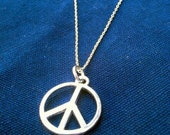 Silver Necklace with Peace Sign Pendant