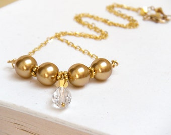 Gold Necklace, Pearl Necklace, Bridal Necklace, Gold Pearl Necklace, Vintage Style Necklace, Layering Necklace - Georgiana Luxe