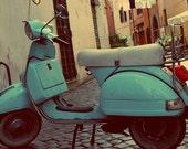 Italian Teal vespa scooter, Rome, teal decor,Travel photography, Digital print