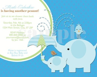 DIY Printable Mod Elephant Baby Shower Invitation