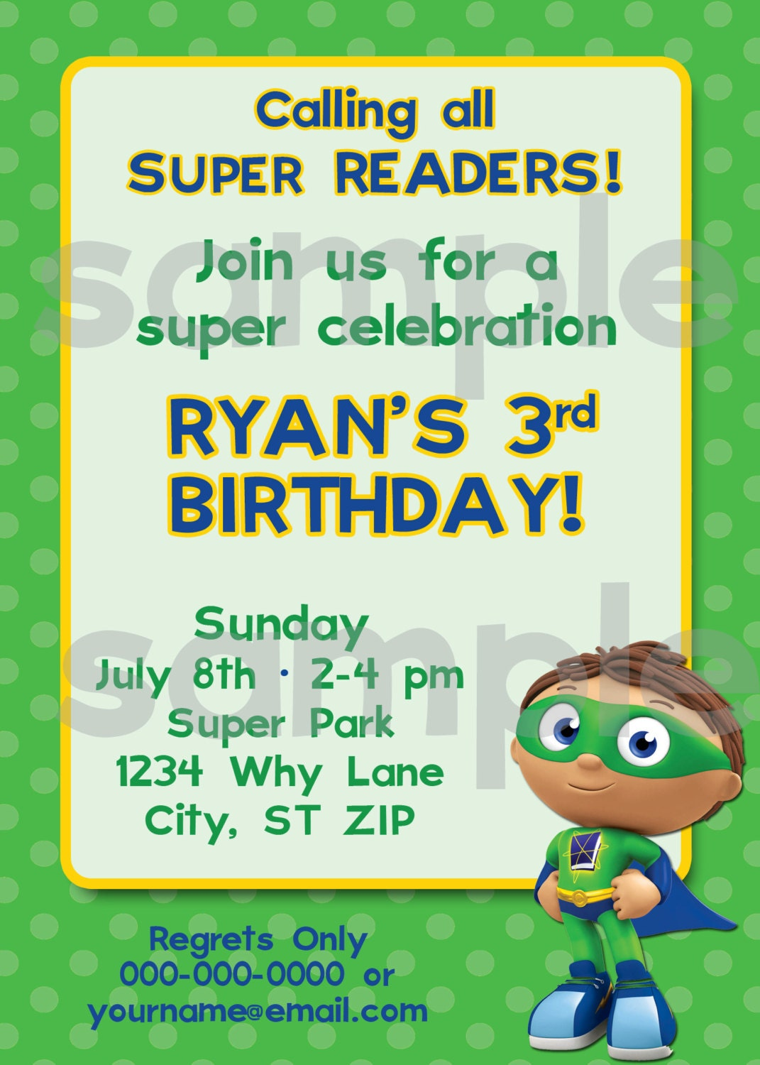 Super why party invitations diy printable super why birthday invitation filmwisefo