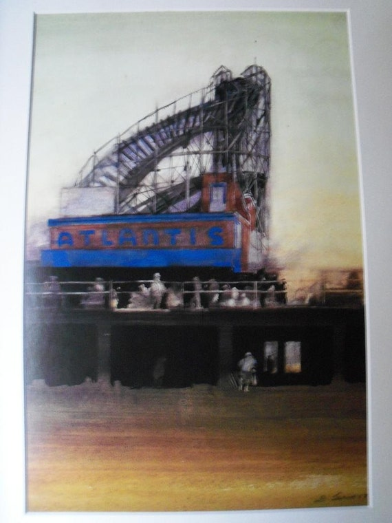 Art New York Atlantis Rollercoaster Beach Boardwalk Sixties Watercolor Matted Print 11 x 14 Free Shipping