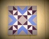 "Mini Barn Quilt, Wyoming Valley Block Pattern, Violet Blue, Plum Purple & Grey, Original Mini Barn Quilt, 15"" x 15"""