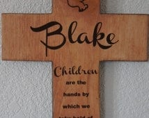 Boys First Communion Rustic Cross with Dove (Children are the hands by which we take hold of heaven ) Quote Baptism Gift Boy Girl