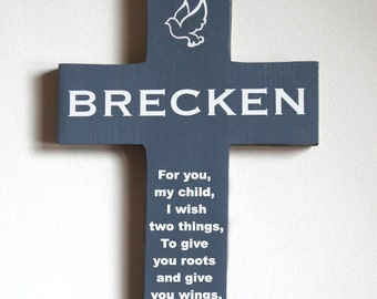 Personalize Wall Cross with Dove for Baptism Gift  Boy Girl Christening  Birthday with poem Roots and wings