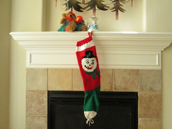 Hand Knitted Christmas Stocking with Snowman Face