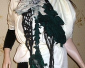 Wool felted Brooch with Knitted black Scarf Shawl Wrap Handmade Lagenlook LIA design set