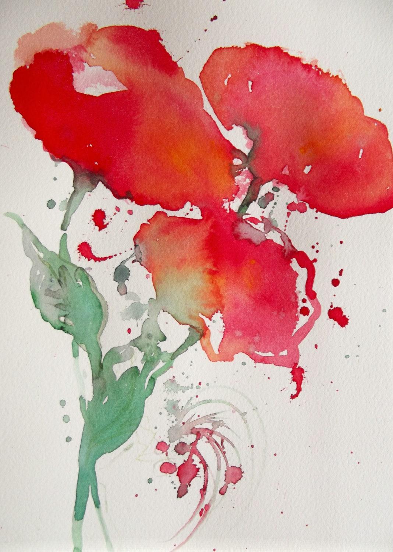 Semi Abstract Floral Original Watercolor Painting by LanasArt