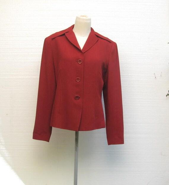 Vintage Jacket Blazer 1940s Style Burgundy Light Weight Crepe Wool  Size 12