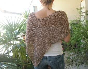 Brown knitted poncho