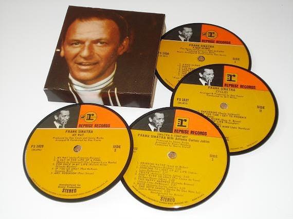 FRANK SINATRA vinyl record coaster set record album coasters