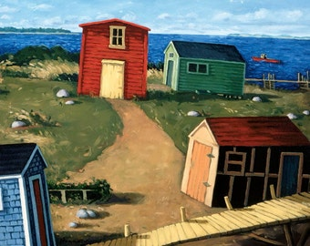 "Rearranging the Fishing Shacks, 7.5"" H x 10"" W, Offset Print by Paul Hannon, FREE SHIPPING Canada & US"
