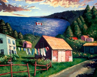 "Along the Bras d'Or Lakes, 8.5"" H x 10"" W, Offset Print by Paul Hannon, FREE SHIPPING Canada & US"