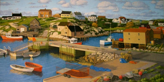 """Early Evening, Peggy's Cove  12"""" x 24"""" Stretched canvas print by Paul Hannon  FREE SHIPPING Canada & US"""