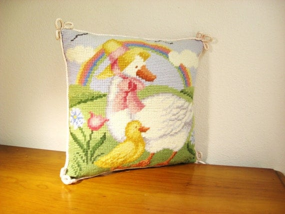 Vintage Needlepoint Pillow, Mother Goose Nursery Rhyme, Children's decor, Ducks