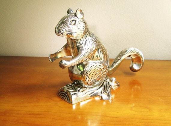 Vintage Godinger Squirrel Nutcracker Figurine Silver Plated
