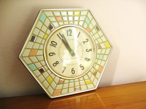 Vintage 1960's General Electric Mosaic Tile Wall Clock, Colorful Mid Century Clock