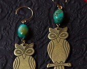 Night Owl Earrings with Turquoise Bead