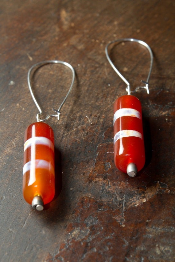 Orange Glass Cylinder Earrings with White & Purple Stripes