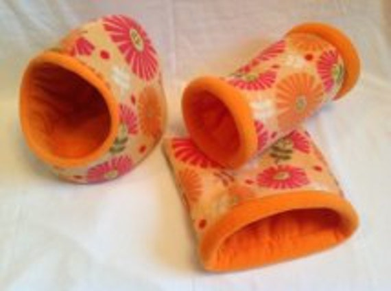 Sweet orange flowers set.. hidey hut, cozy cave, and tunnel set of three for Guinea pig