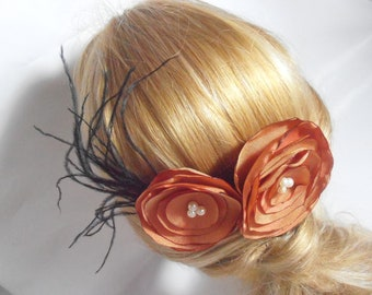 Fascinator, Flower Hair Comb. Wedding hair comb. peach flower bridal hair comb with black feather. Wedding fascinator,  Bridesmaid hair Comb