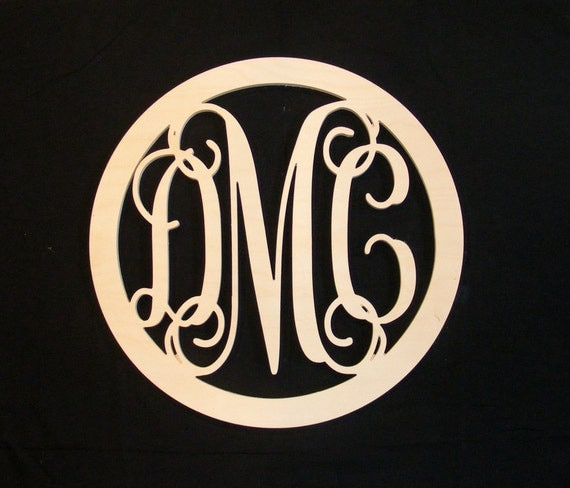 24 inch Vine connected monogram letter- round with BORDER, wedding decor, gift, home decor, unfinished wooden letter