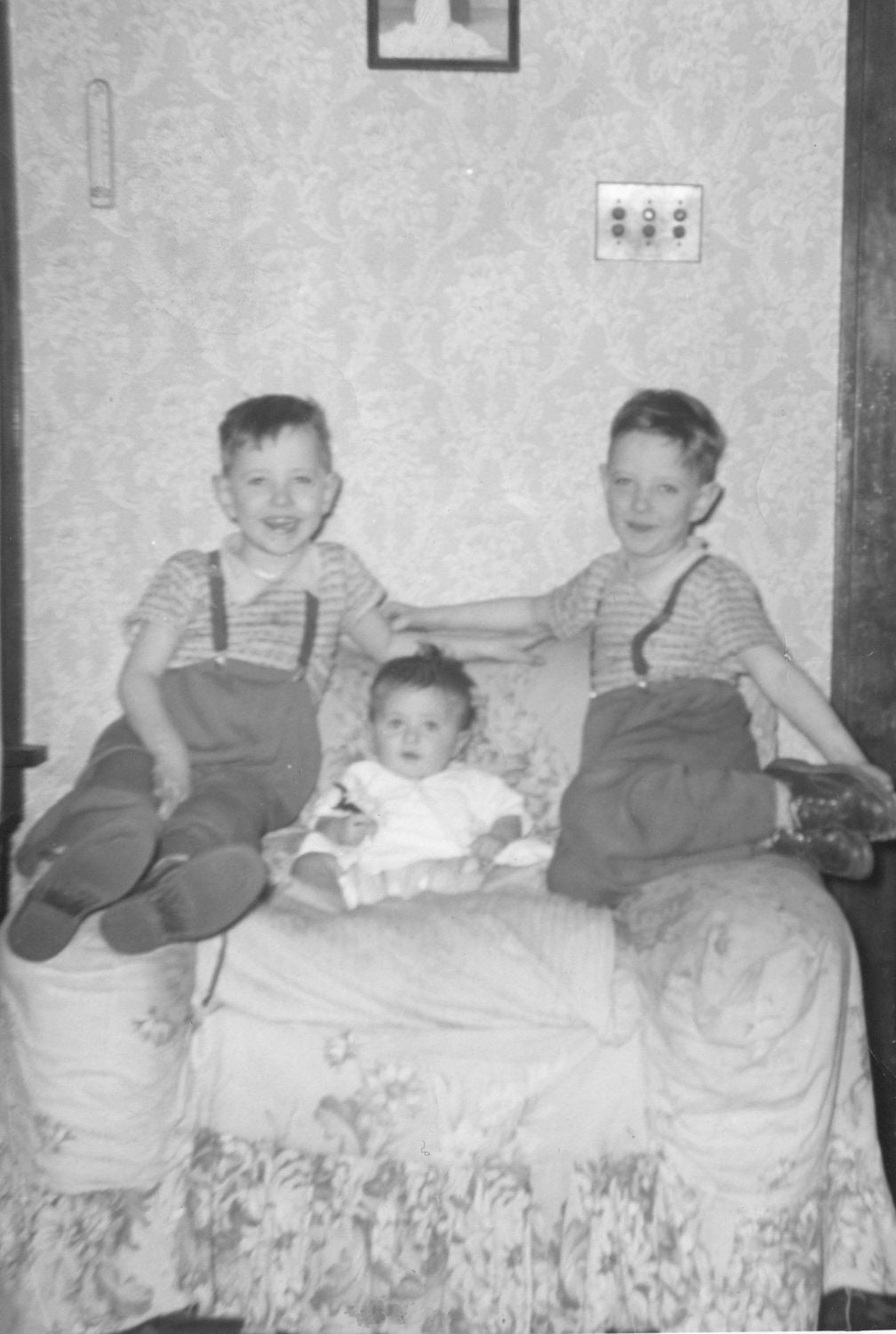 Cute Twin Boys Pose for this vintage photo with their little brother.