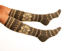 "LONG SOCKS ""Scandinavian Legend""  Hand knitted from natural dark grey wool yarn. Great to wear with boots."