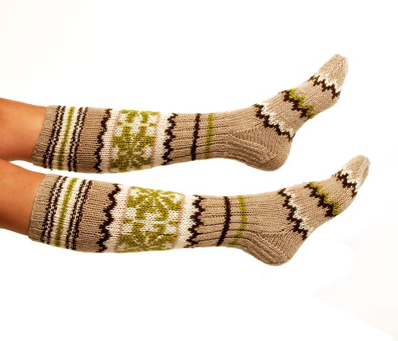 "LONG SOCKS ""Ornamented treasure"" Hand knitted from natural sand color wool yarn. Great to wear with boots."