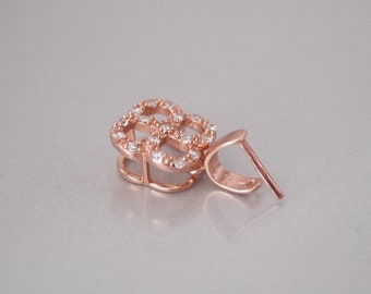 1 PC, Rose Gold Vermeil Pendant Bail, Jewelry Bail, Round Corner Square with CZ, for Necklace Cord, DIY Jewelry Supplies