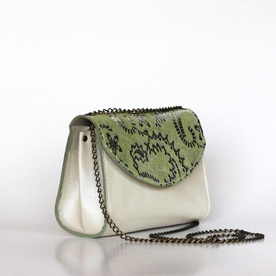 Green leather purse , Silver patterned bag , Unique leather purse , Green white handbag, Dalfia leather handbag, evening purse