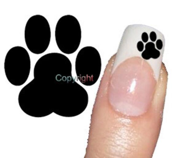 Zero The Dog Nail Designs: Items Similar To 50 Black Dog Paw Print Tattoo Nail Art
